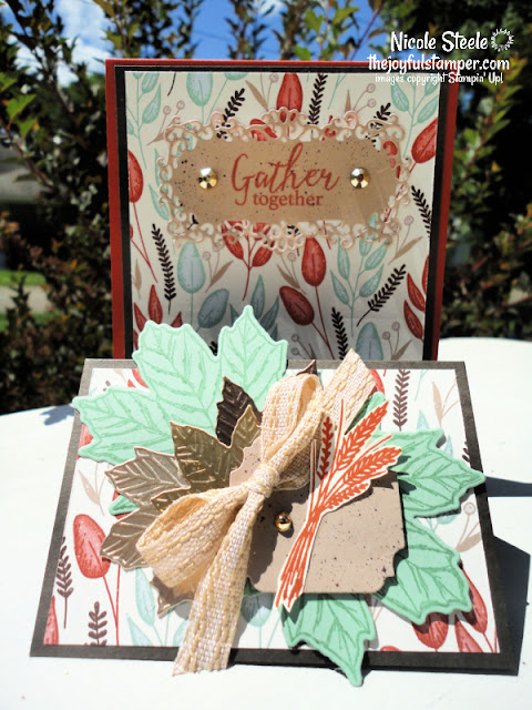 double easel card, card fun folds, gilded autumn designer series paper, fall, stampin' up!, handmade cards, learn to stamp, how to make a card, gather together, gathered leaves dies, ornate layers dies, ornate frames dies, metallic paper, brushed metallic cardstock, nicole steele, the joyful stamper, independent stampin' up! demonstrator