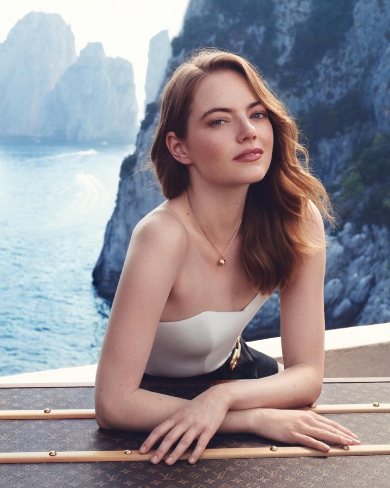 Emma Stone poses for the Louis Vuitton Heures d' Absence Fragrance Campaign
