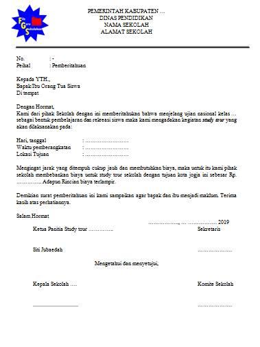 Contoh Surat Pemberitahuan Kegiatan Study Tour Sekolah