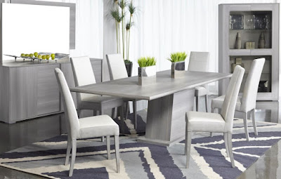 Modern gray dining room furniture with nice rug underneath