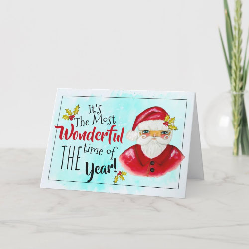 Classic Hand Painted Santa Christmas and Typography  Card