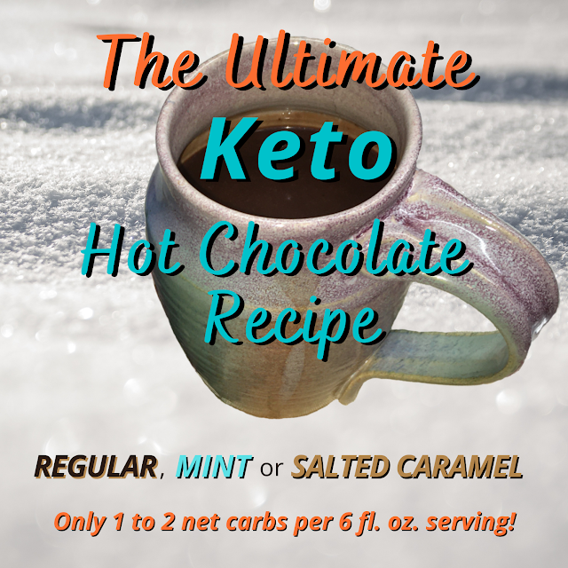 "Main image - mug of cocoa against snowy background, overlaid with text ""The Ultimate Keto Hot Chocolate Recipe"""