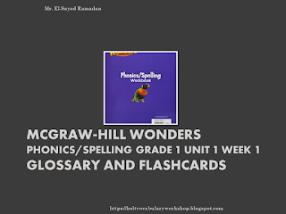 McGraw-Hill Wonders Phonics/Spelling Grade 1 Unit 1 Week 1 Glossary and Flashcards