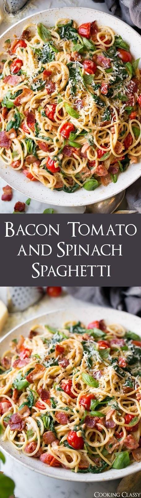 Bacon Tomato and Spinach Spaghetti