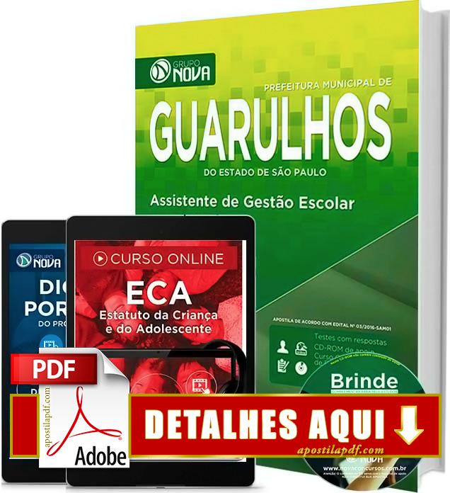 Apostila Prefeitura de Guarulhos 2016 Assistente de Gestão Escolar Impressa