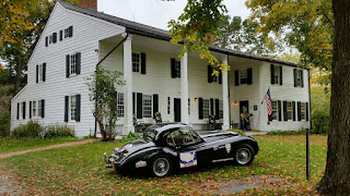 XK120 outside one of USA oldest houses.