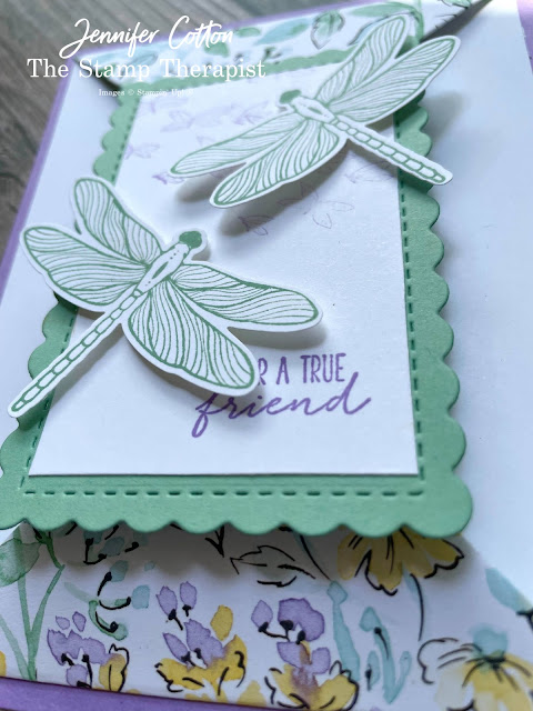 Dragonfly Double Point Fun Fold card using Stampin' Up!'s Hand-Penned Designer Series Paper (DSP).  The bundle is Dragonfly Wishes.   Select designer papers are 15% off through Aug 2, 2021.  www.StampTherapist.com #StampinUp #StampTherapist #DragonflyWishes