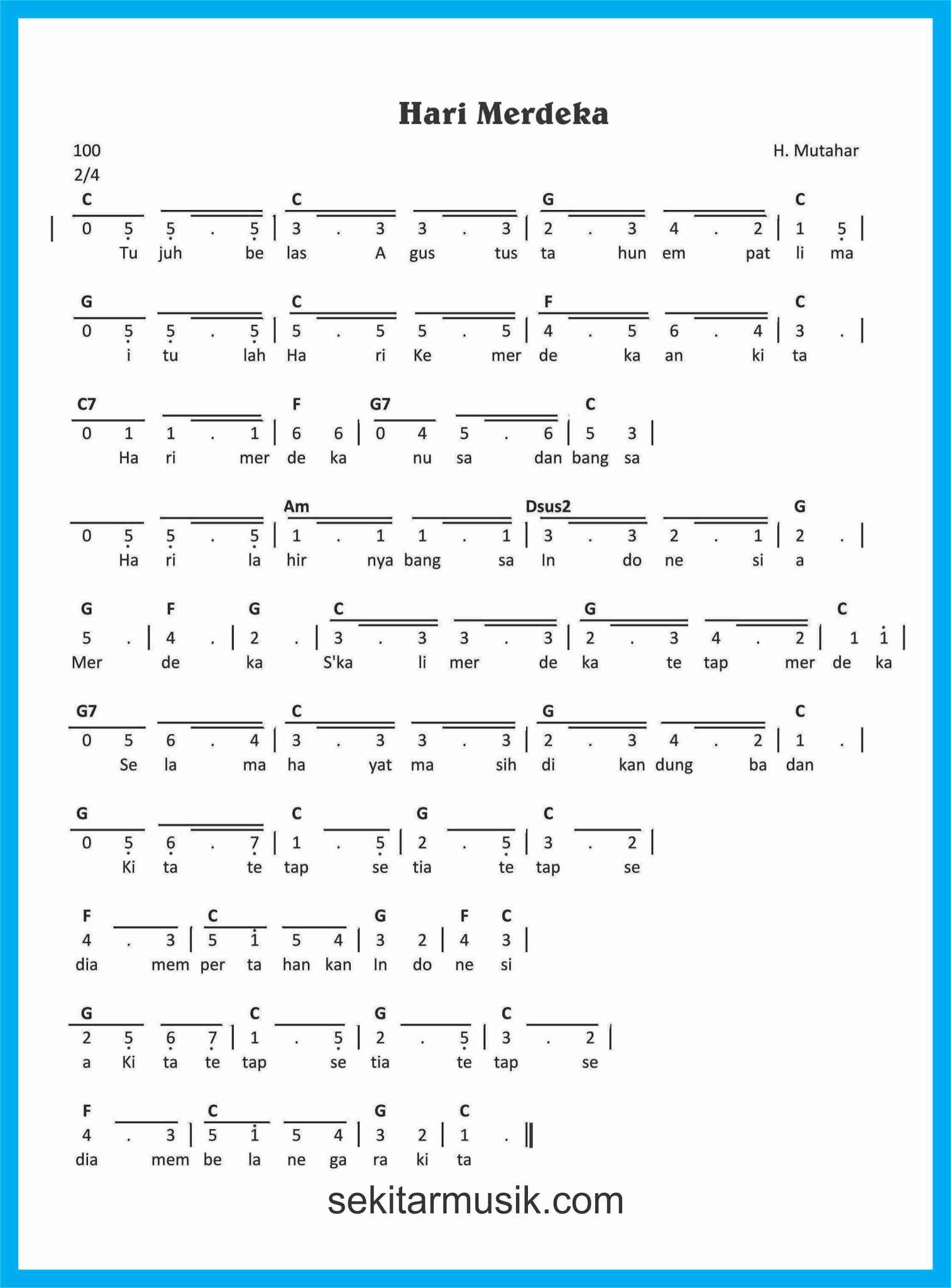 Not Angka Lagu Hari Merdeka : angka, merdeka, Angka, Merdeka, SEKITAR, MUSIK