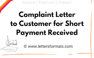 letter to customer for short payment received