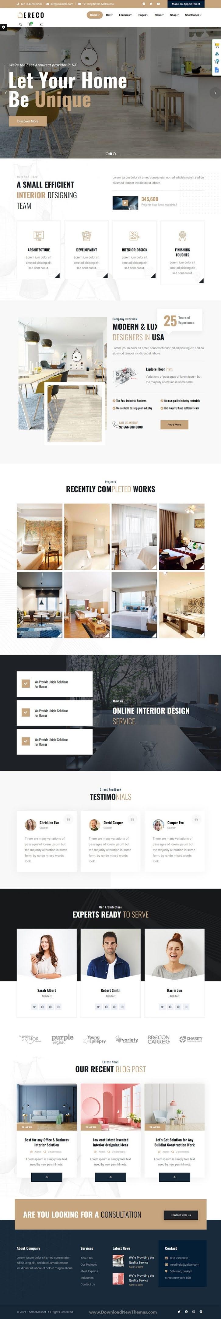 Architecture and Interior Design Website Template