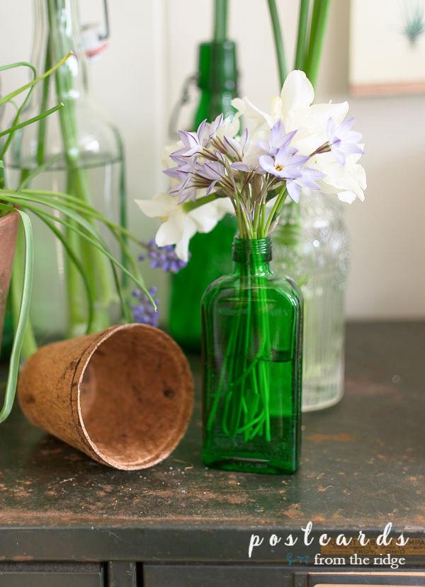 green bottle upcycled into bud vase