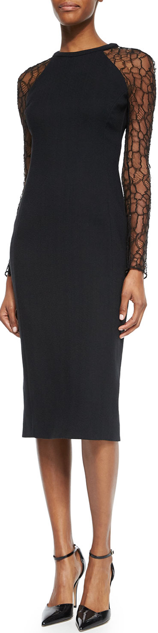 Jason Wu Long-Lace-Sleeve Slim Dress, Black