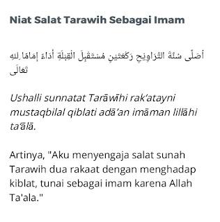 Niat sholat tarawih sebagai imam