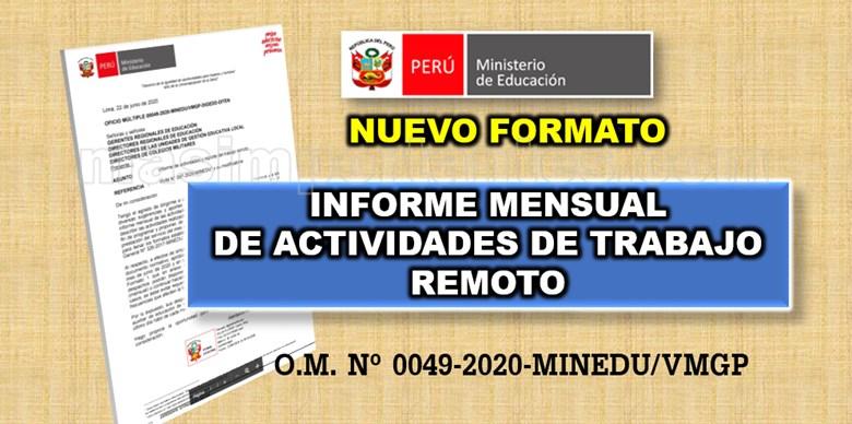 nuevo modelo de informe de actividades de trabajo remoto