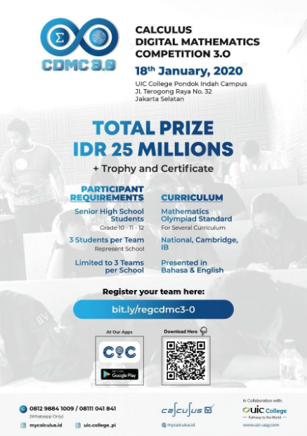 Calculus Digital Mathematic Competition 3.0 (CMDC) 2020