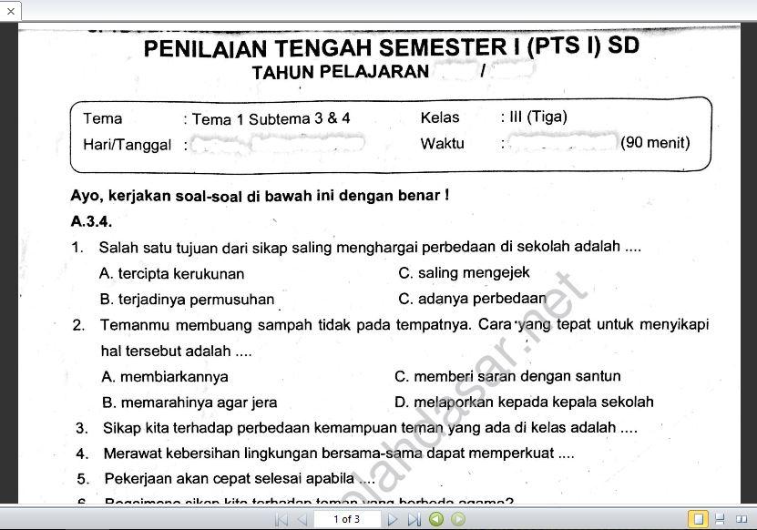 Soal Ulangan Kelas 3 K 13 Tema 1 Subtema 3 Dan 4 Sekolahdasar Net