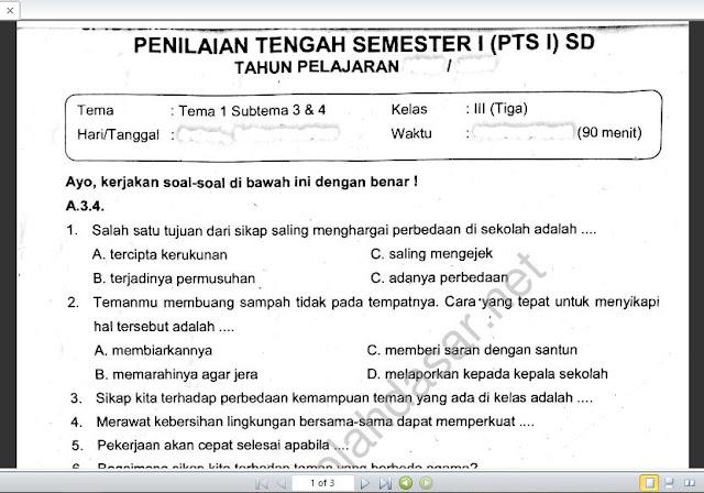Soal Ulangan Kelas 3 K-13 Tema 1 Subtema 3 dan 4