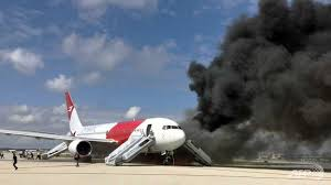 Plane that caught fire