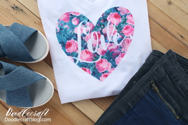 This heart shape shirt with the cabbage rose pattern is easy to make using Cricut Design Space, Cricut cutting machine and Infusible Ink transfers!