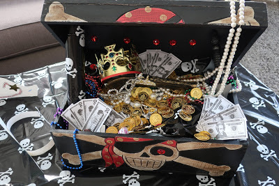 Pirate Theme Birthday Party DIY Treasure Chest with Dollar Store Loot