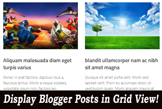 Blogger post in grid view