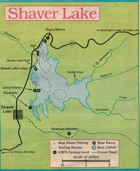 2016 Shaver Lake Fishing Map,  how to fish shaver lake