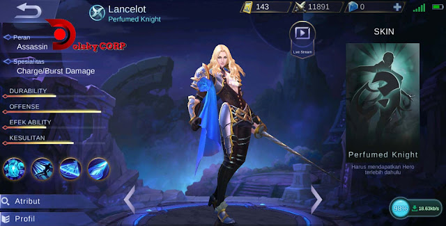 Mobile Legends : Hero Lancelot ( Perfumed Knight ) Burst Damage Builds Set up Gear