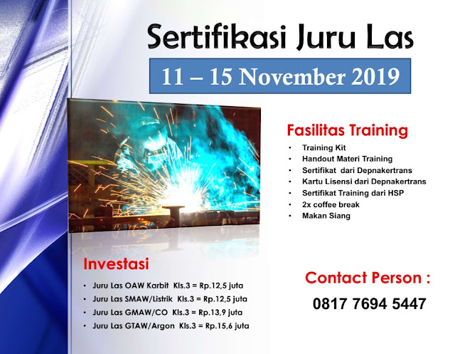Training Welder klas 3 murah tgl. 11-15 November 2019 di Jakarta