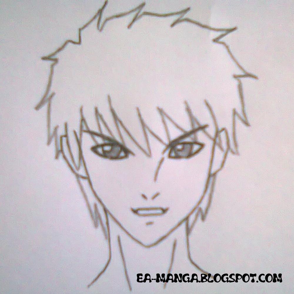 Cara Menggambar Sketsa Wajah Anime Laki Laki Garlerisket