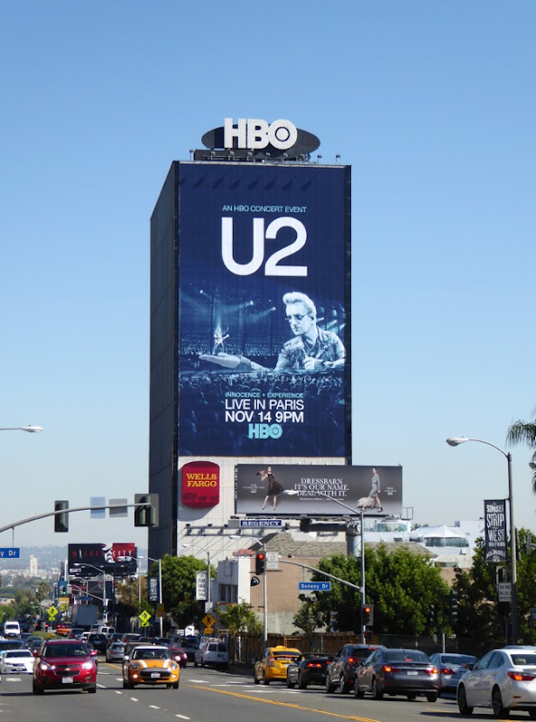 Giant U2 Live in Paris HBO concert billboard Sunset Strip
