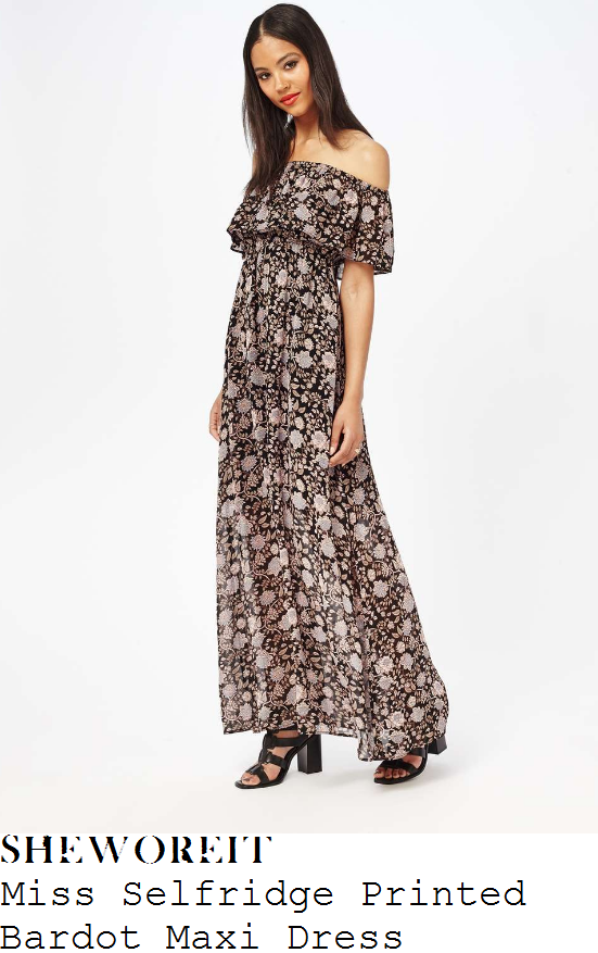 vicky-pattison-miss-selfridge-black-cream-beige-floral-print-off-the-shoulder-bardot-neckline-maxi-dress