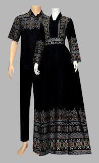 Model Baju Gamis Batik Katun D1925 hitam