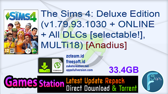 The Sims 4: Deluxe Edition (v1.79.93.1030 + ONLINE + All DLCs [selectable!], MULTi18) [Anadius]