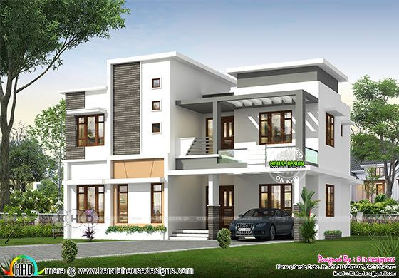Front elevation of flat roof style modern 3 BHK house