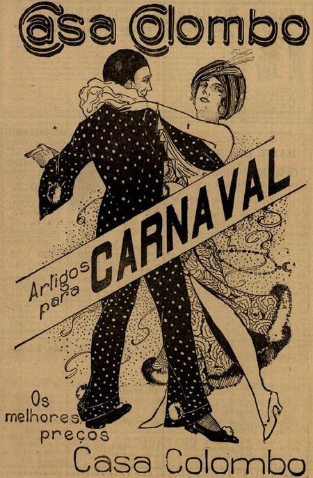 Propaganda das Casas Colombo em promoção a artigos de Carnaval na década de 20