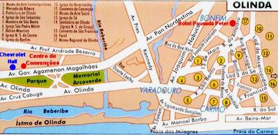 Mapa turístico de Olinda