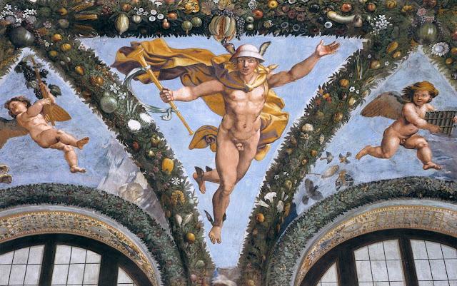 Mercúrio, afresco do Renascentista Rafael Sanzio na Villa Farnesina, Roma.