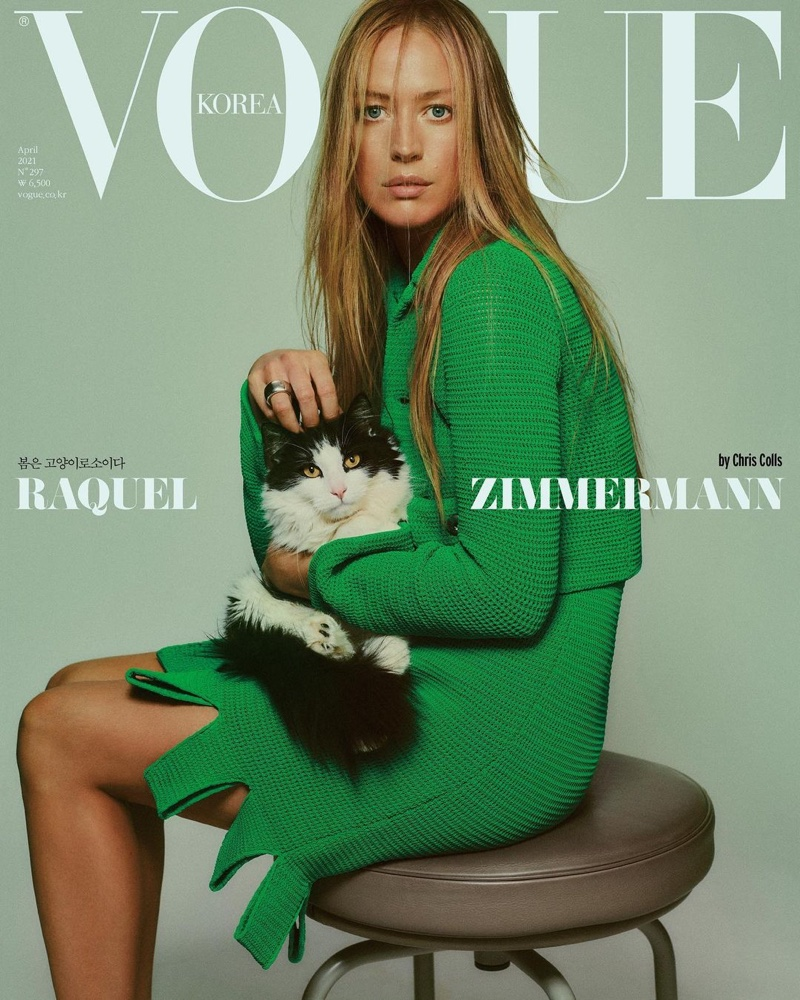 Raquel Zimmermann stuns on three covers for Vogue Korea's April 2021 issue.
