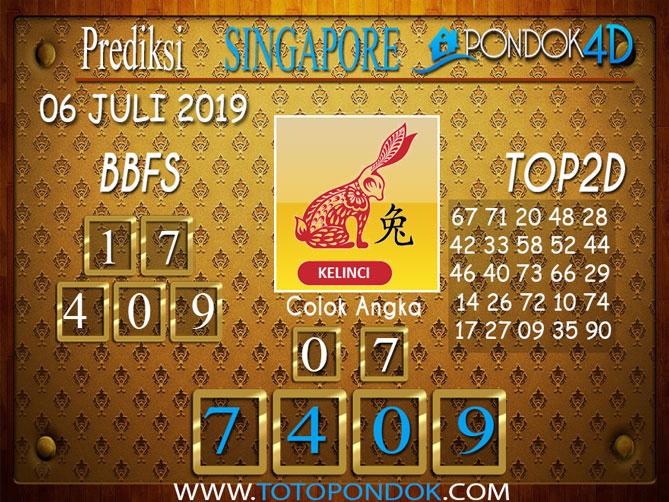 Prediksi Togel SINGAPORE PONDOK4D 06 JULI  2019
