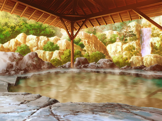 Hot Spring surrounded by rocks (Anime Background)