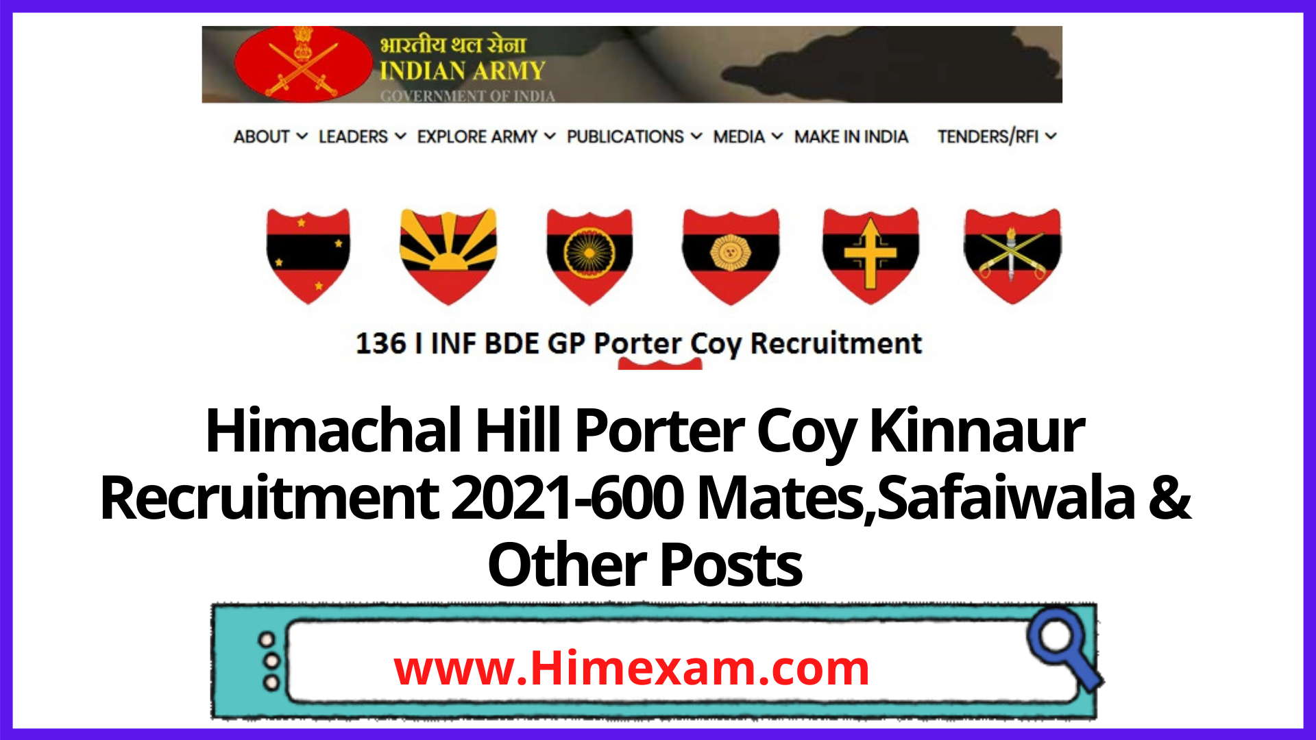 Himachal Hill Porter Coy Kinnaur  Recruitment 2021-600 Mates,Safaiwala & Other Posts