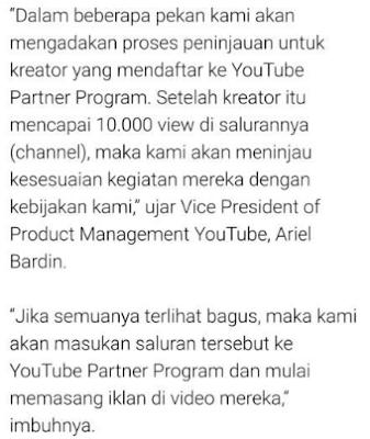 Kebijakan Youtube Yang Baru : View dibawah 10K, Iklan Tidak Akan ditampilkan pada Video Youtube