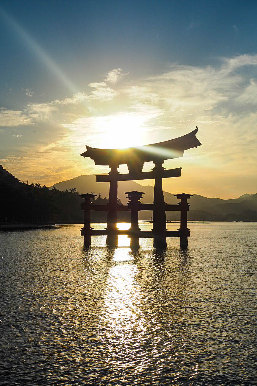 Sunset over Floating Torii Gate of Miyajima, Japan