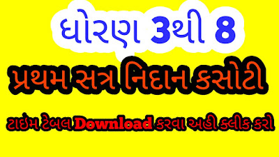 Std 3 to 8   Exam time table 2021