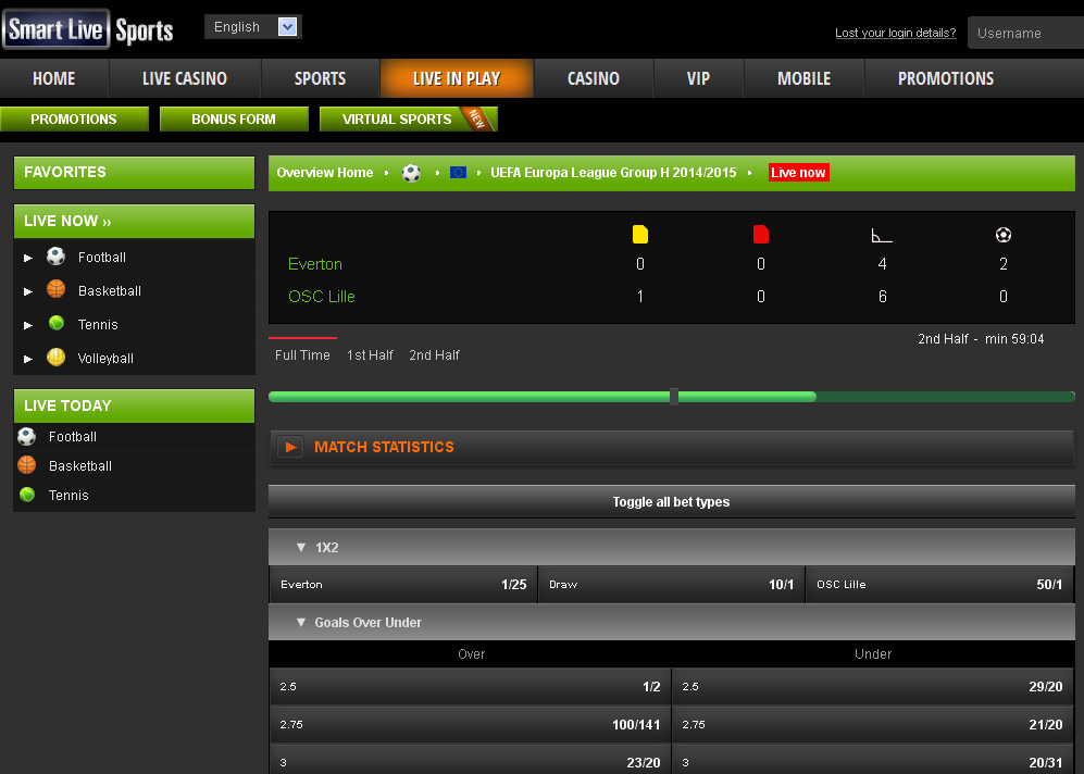 Smart Live Sports In Play Screen