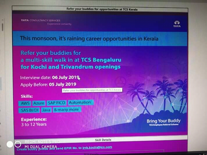 TATA Consultancy Multi Skill Walk -In Interview On 6th July