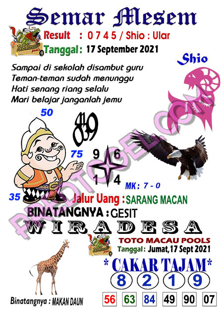 Prediksi Syair Toto Macau Semar Mesem Jumat 17-September-2021