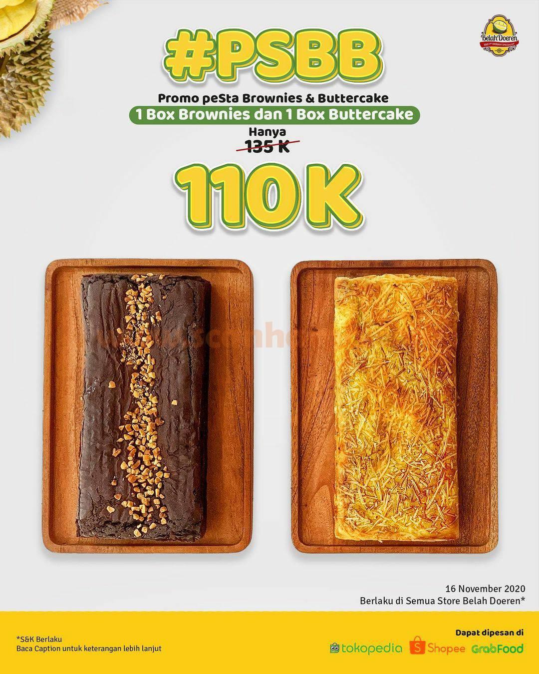 Promo Belah Doeren Paket PSBB: peSta Brownies & Buttercake Hanya 110K