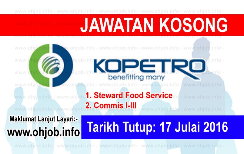 Jawatan Kerja Kosong Koperasi Kakitangan PETRONAS Berhad (KOPETRO) logo www.ohjob.info julai 2016