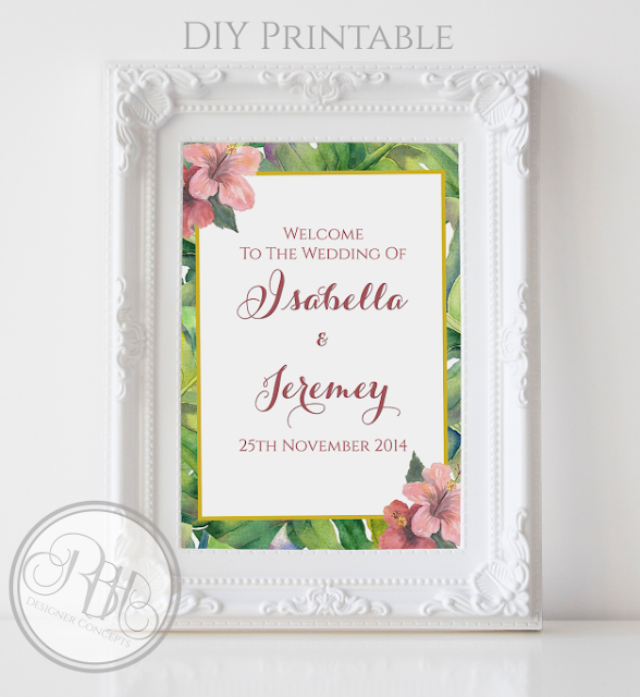 tropical island watercolour wedding welcome sign by rbh designer concepts